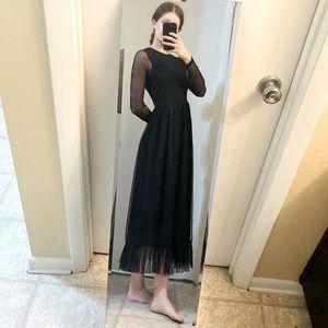 Long Black Tulle Gothic Long Sleeve Mesh Dress XS